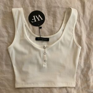 WHITE FOX ribbed crop top